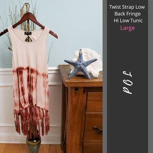 POL | Twist Strap Low Back Fringe Hi Low Tunic